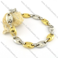 Top Quality 316L Stainless Steel Stamping Beans Shaped Bracelets -b000682
