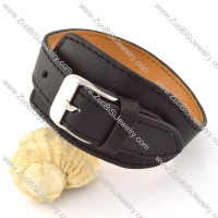 32mm Wide Black Leather Bracelet with Stainless Steel Watch Buckle b000686