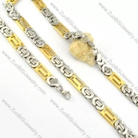 good Steel Stamping Necklace with Bracele Set - s000260