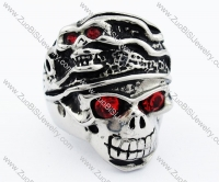Ugly Red Eyes Stainless Steel skull Ring - JR090275