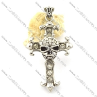 Wholesale Stainless Skull Cross Steel Pendant -p000908