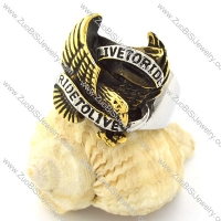 Mixed Silver and Gold Plating LIVE TO RIDE Eagle Ring in Steel for Motorcycle Bikers -r000725