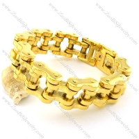 23mm Wide Gold Stainless Steel Biker Bracelets for Heavy Men -b001330