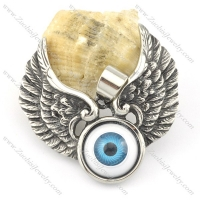 small wing pendant with blue eye ball p001579