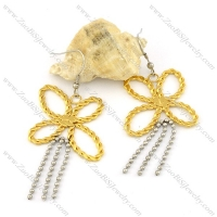 2 tones special stainless steel butterfly earrings for elegant ladies -e000644
