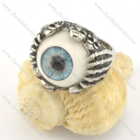 steel evil eye ring with six skull heads r001429