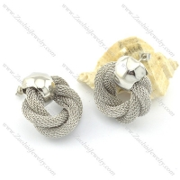 silver unique net chain earring e000775