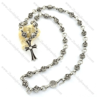 hot selling stainless steel flower necklace with cross pendant n000489