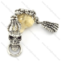 316l stainless steel skull key chain with 2 ghost hands k000001