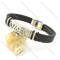 rubber bracelet with stainless steel parts b001705