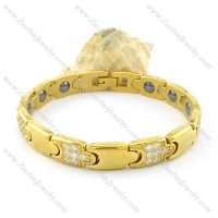 gold plating stainless steel bracelet CNC clear stones b001670