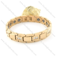 gold plating stainless steel bracelet CNC clear stones b001651