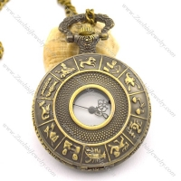 antique bronze twelve constellations pocket watch chain pw000406