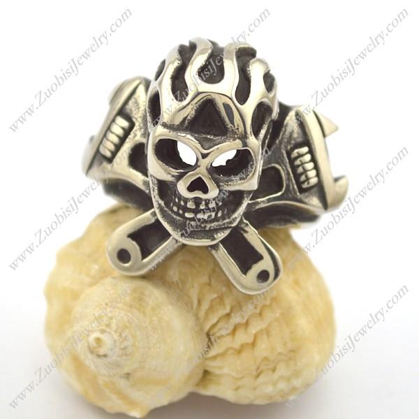 Spanner Fire Skull Ring for Biker