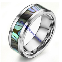 Pure Tungsten Steel Ring with Shell in Middle in 0.8cm Wide JR490003