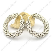 8mm Silver Hollow Stainless Steel Earring e001022