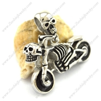 Punk Stainless Steel Skull Motorcycle Pendant p002827