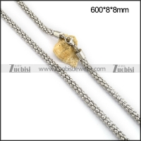 All Silver Tone Stainless Steel Popcorn Chain in 8MM Wide n001096