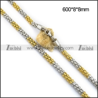 Silver and Gold Tone Popcorn Chain in 600MM Long n001097