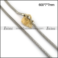7MM Wide Silver Plated Stainless Steel Net Chain n001099