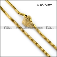 7MM All 18K Gold Pated Steel Net Chain n001100