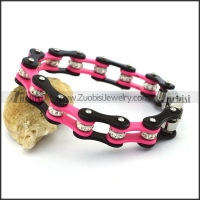 Black and Hot Pink Bracelet with Crystals in between b004277