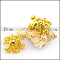 Yellow Gold Tone Skull Cooper Cufflinks c000051