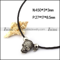 3mm Black Leather Cord with Skull Pendants n001243