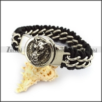 Wolf Head Leather Bracelet b004848