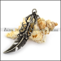 Antique Stainless Steel Claw Feather Charm p004217