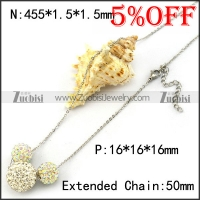 Steel Chain Necklace with 1 Big and 2 Small Clear Rhinestones Balls n001364