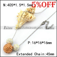 1 Big Amber Rhinestones Ball and 2 Small Clear Necklace Chain n001362