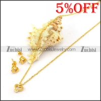 Gold Stainless Steel Necklace and Earring Set s001927