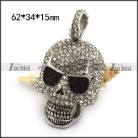 Skull Face Pendant full of Clear Rhinestones and 2 Black Rhinestones Eyes p004321