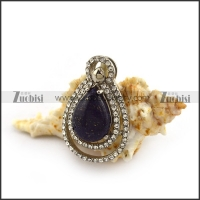 Water Drop Shape Black Stone Pendant p004366