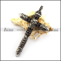 Punk Rhinestone Steel Cross Pendant p004374