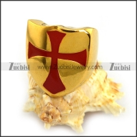 Yellow Gold Stainless Steel Ring Enamel Red Cross r003853