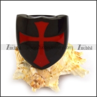 Red Enamel Cross Stainless Steel Black Casting Ring r003854