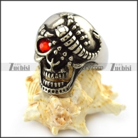 Red Eye Stainless Steel Skull Ring with Scorpion r004321