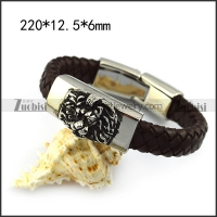 Leather Bracelet with Steel Lion b005838