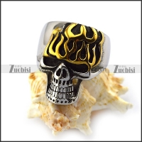 Gold Plating Flame Skull Ring r004552