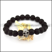 20 Black Beads with 8mm Diameter and One SS Metal Skull Bead b005939