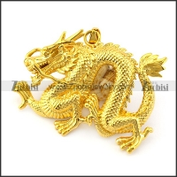 Golden Chinese Dragon Pendant in Stainless Steel p005738