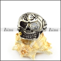 Solid Back Skull Ring with Zircon Eye and Tobacco Pipe r004914