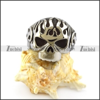 Flame Skull Ring with Solid Back r004917