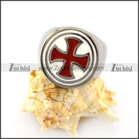 Red Cross White Epoxy Ring r004957