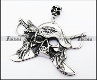 Big Stainless Steel Pirate Pendant - JP170163