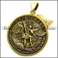 antique golden ST. Michael patron saint of law enforcement pendant p008883