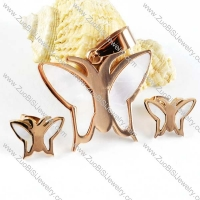 Rose Gold Butterfly jewelry set with Shell -s000019