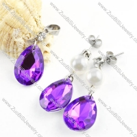 Clear Purple Stainless Steel Jewelry Set with Water-drop Stone -s000065